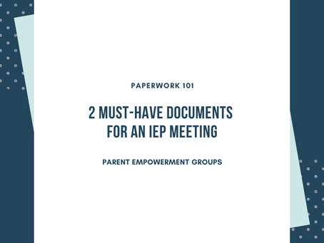 Paperwork 101:  A Meeting Agenda & Parent Concerns