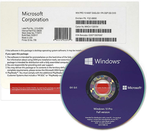 Windows 10 Pro OEM DVD