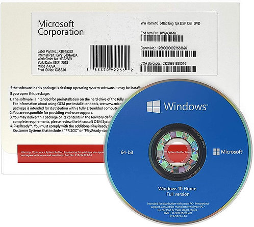 Windows 10 Home OEM DVD