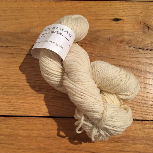 Romney-Border Leicester White 2-ply WORSTED