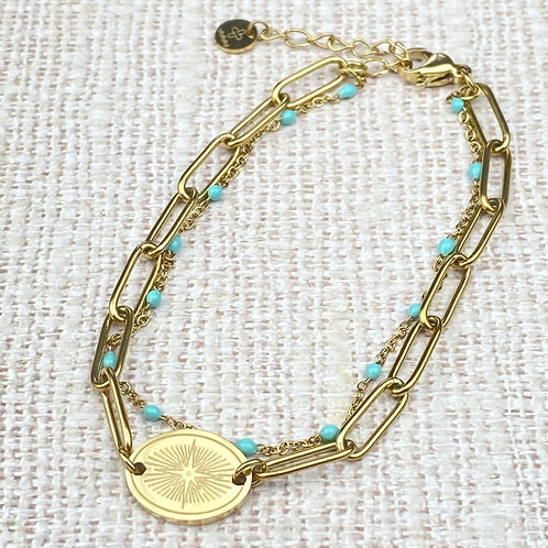 Bracelet Femme Double Chaîne Doré Médaillon Perles Turquoise Acier