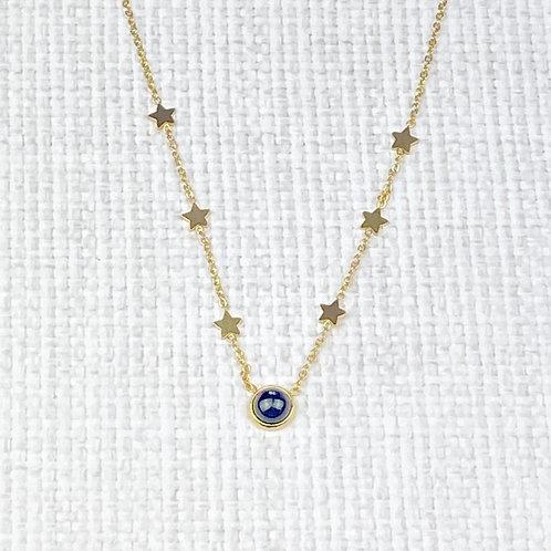 Collier Femme Chaîne Dorée Acier Etoiles Perle Noire