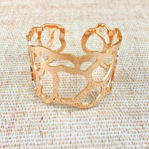 Bracelet Fantaisie Femme Manchette Or Rosé Rigide