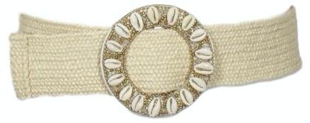 Ceinture Elastique Raphia Tressé Coquillages Perles