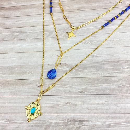 Collier Sautoir Doré Bleu Multi-Rangs Acier Etoile