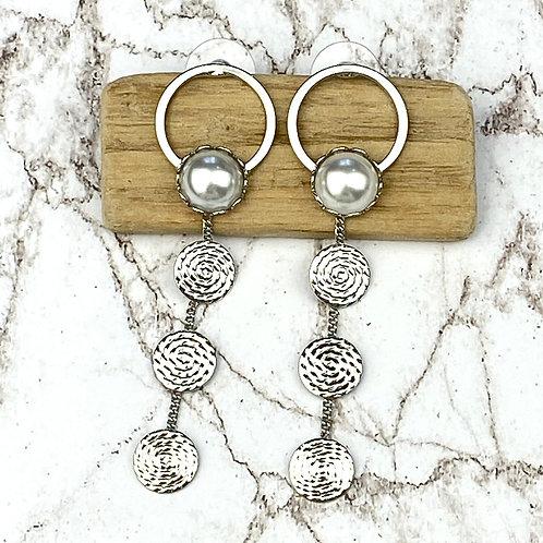 Boucles d'Oreilles Argentées Pendantes Spirales Perles
