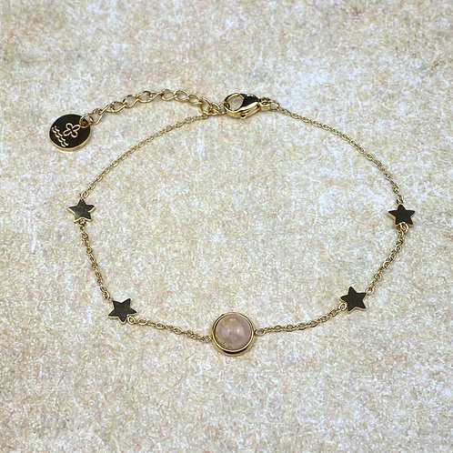 Bracelet Femme Doré Chaîne Acier Etoiles Perle Rose