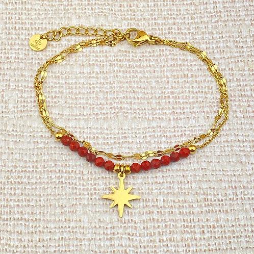 Bracelet Femme Chaîne Doré Acier Double Rangs Etoile Perles Rouges