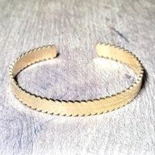 Bracelet Jonc Acier Inoxydable Feuille Laurier Doré