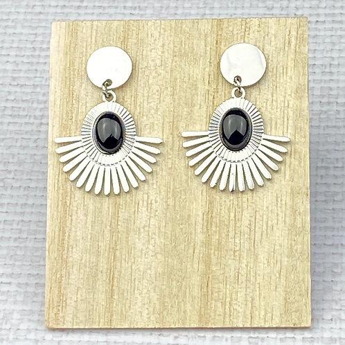 Boucles d'oreilles Femme Argentées Acier Demi-soleil Perle Noire