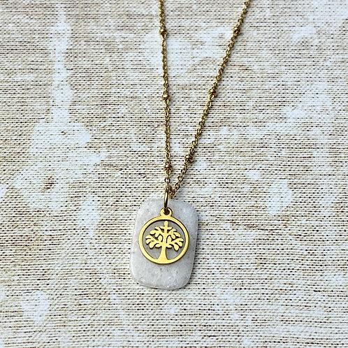Collier Femme Doré Acier Médaille Arbre de Vie Résine Blanche