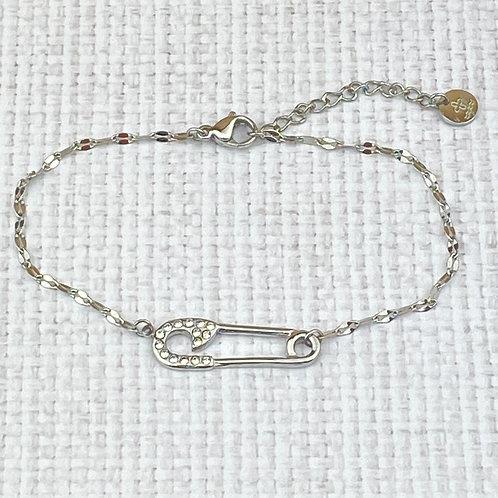 Bracelet Femme Chaîne Argenté Epingle Nourrice Strass