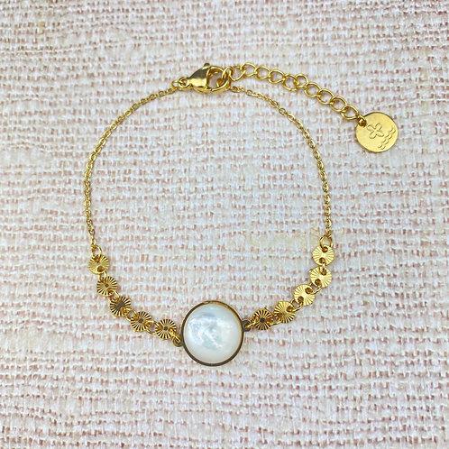 Bracelet Femme Doré Cabochon Nacre Acier Inoxydable