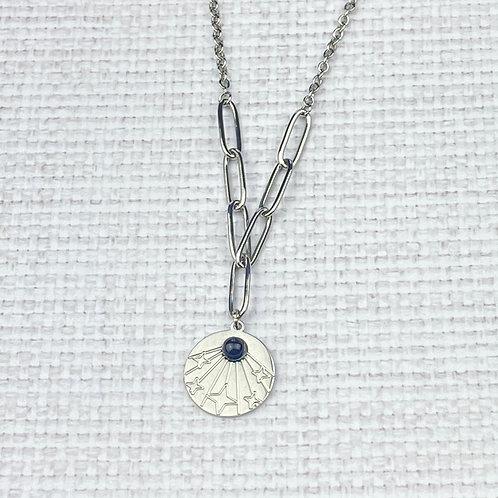 Collier Femme Chaîne Argenté Comète Perle Noire