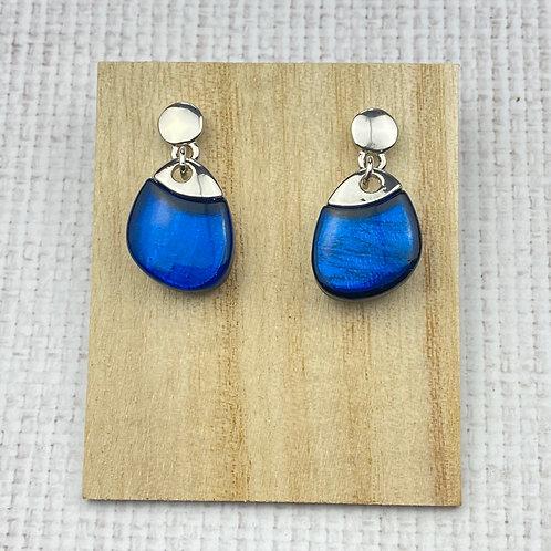 Boucles d'Oreilles Argentées Pendantes Ovale Résine Bleue
