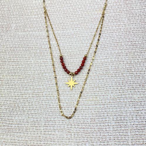 Collier Femme Doré Acier Double Rangs Etoile Perles Rouges