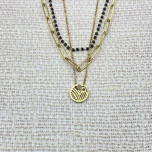 Collier Femme Doré Acier Multi Rangs Médaillon Perles Noires