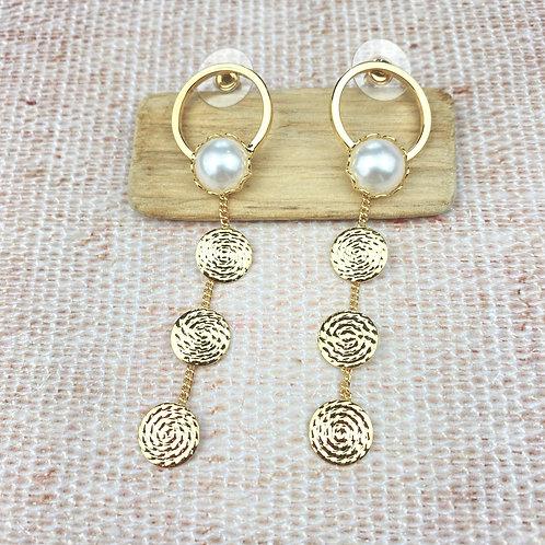 Boucles d'Oreilles Dorées Pendantes Spirales Perles