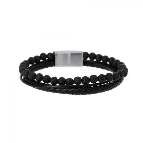 Bracelet Homme Multi-Rangs Cuir Noir Pierre de Lave