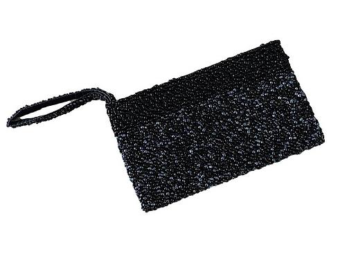 Pochette Noire Perles Cousu Main Artisanat Bali