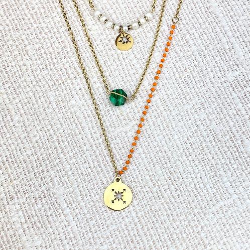 Collier Doré Multi-Rangs Acier Etoile Perles Oranges