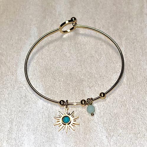 Bracelet Doré Jonc Fin Acier Soleil Bleu Perles