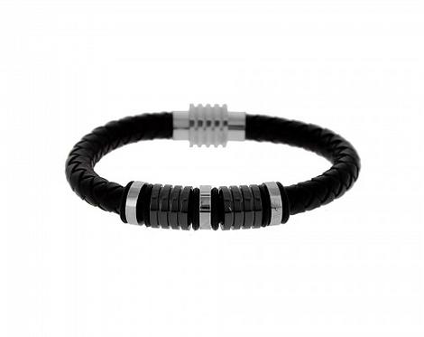 Bracelet Homme Cuir Acier Inoxydable Fermoir Aimanté
