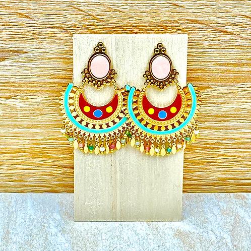 Boucles d'Oreilles Dorées Pendantes Bohème Multicolores