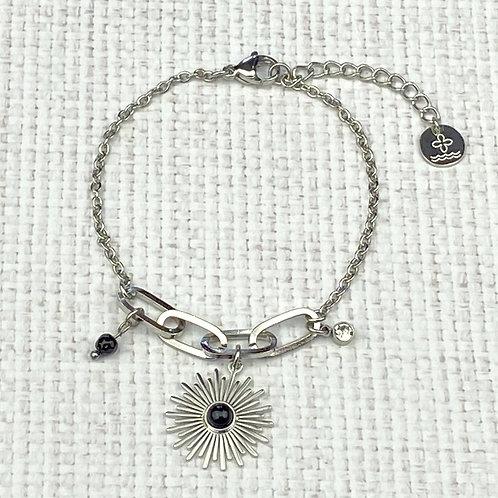 Bracelet Femme Argenté Soleil Perle Noire Strass Acier