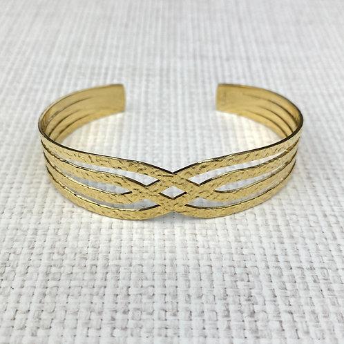 Bracelet Femme Doré Jonc Effet Martelé Ouvert