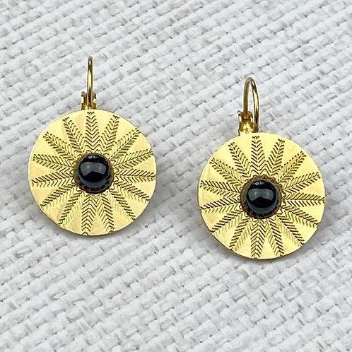 Boucles d'Oreilles Femme Dorées Acier Dormeuses Perle Noire