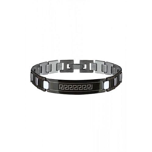 Bracelet Homme Tendance Gourmette en Acier Noir Motifs