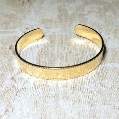 Bracelet Doré Jonc Ouvert Acier Inoxydable Martelé