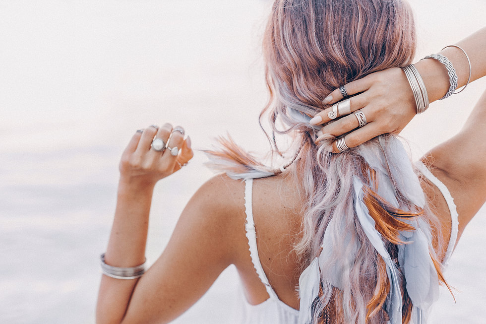 beautiful young boho woman close up with