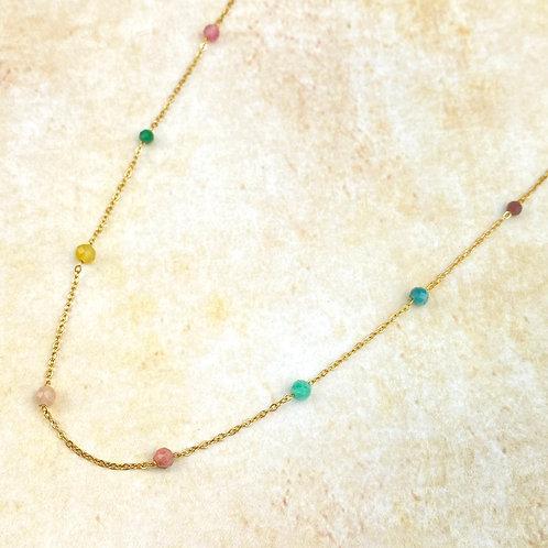 Collier Court Doré Chaîne Acier Perles Multicolores