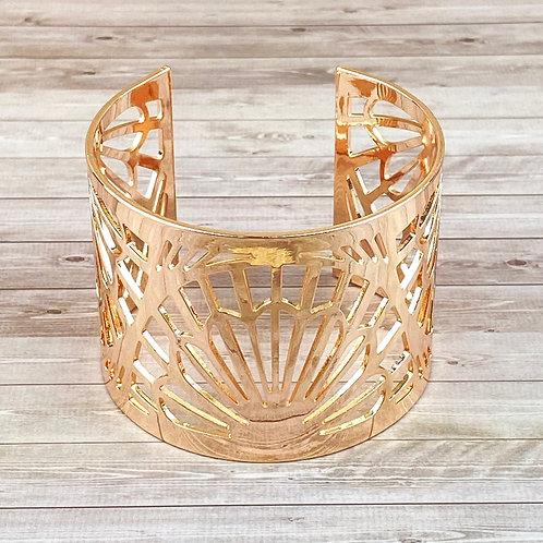 Bracelet Fantaisie Manchette Or Rosé Femme Motif Palmier