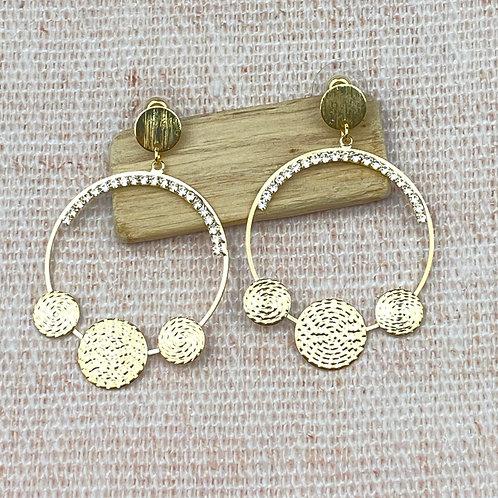 Boucles d'Oreilles Dorées XXL Cercles Spirales Strass