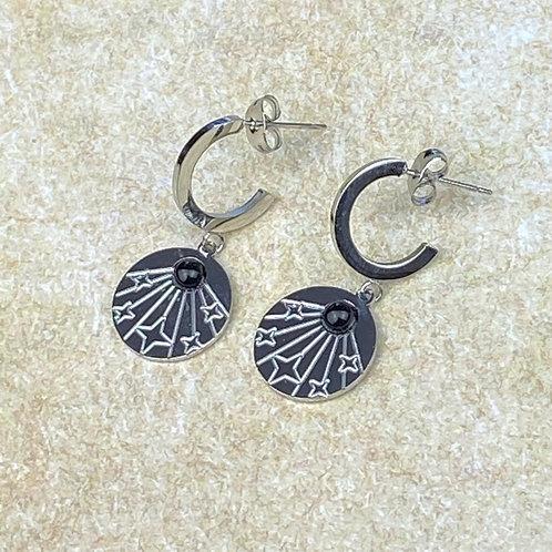 Boucles d'Oreilles Femme Argentées Comète Perle Noire