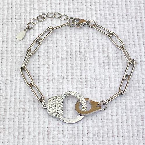 Bracelet Femme Argenté Menottes Strass Acier Inoxydable