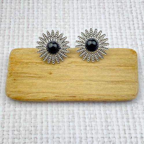 Boucles d'Oreilles Femme Argentées Fleur Perle Noire