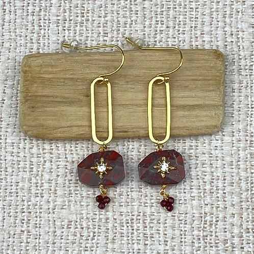 Boucles d'Oreilles Dorées Acier Perles Rouges Strass