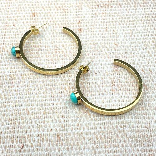 Boucles d'Oreilles Dorées Acier Créoles Perle Turquoise