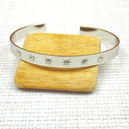 Bracelet Femme Jonc Argenté Acier Etoile Strass