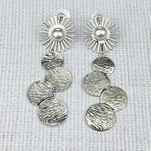Boucles d'Oreilles Argentées Pendantes XXL Soleil Perle