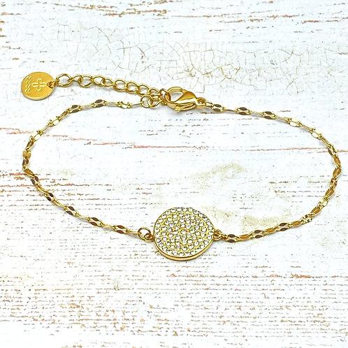 Bracelet Femme Doré Chaîne Acier Pendentif Strass Cristal