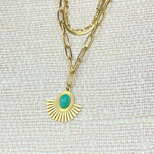 Collier Femme Doré Acier Multi-Rangs Pendentif Soleil Perle Turquoise