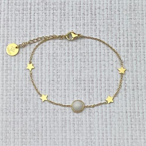 Bracelet Femme Doré Chaîne Acier Etoiles Perle Blanche