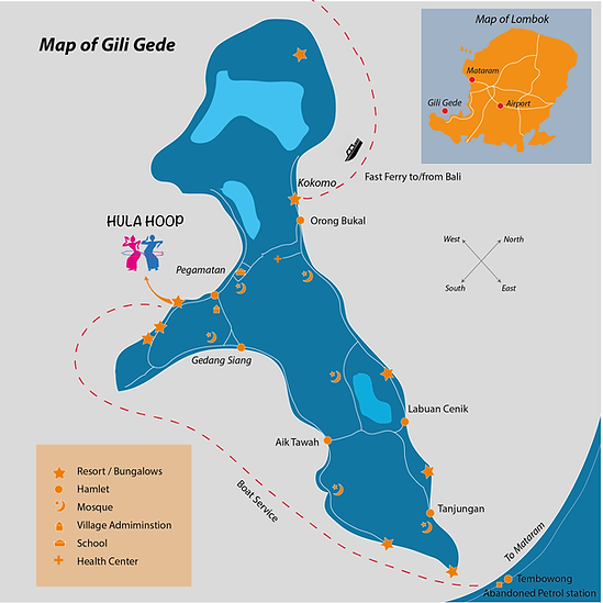 Map of Gili Gede Island on Lombok, Indonesia