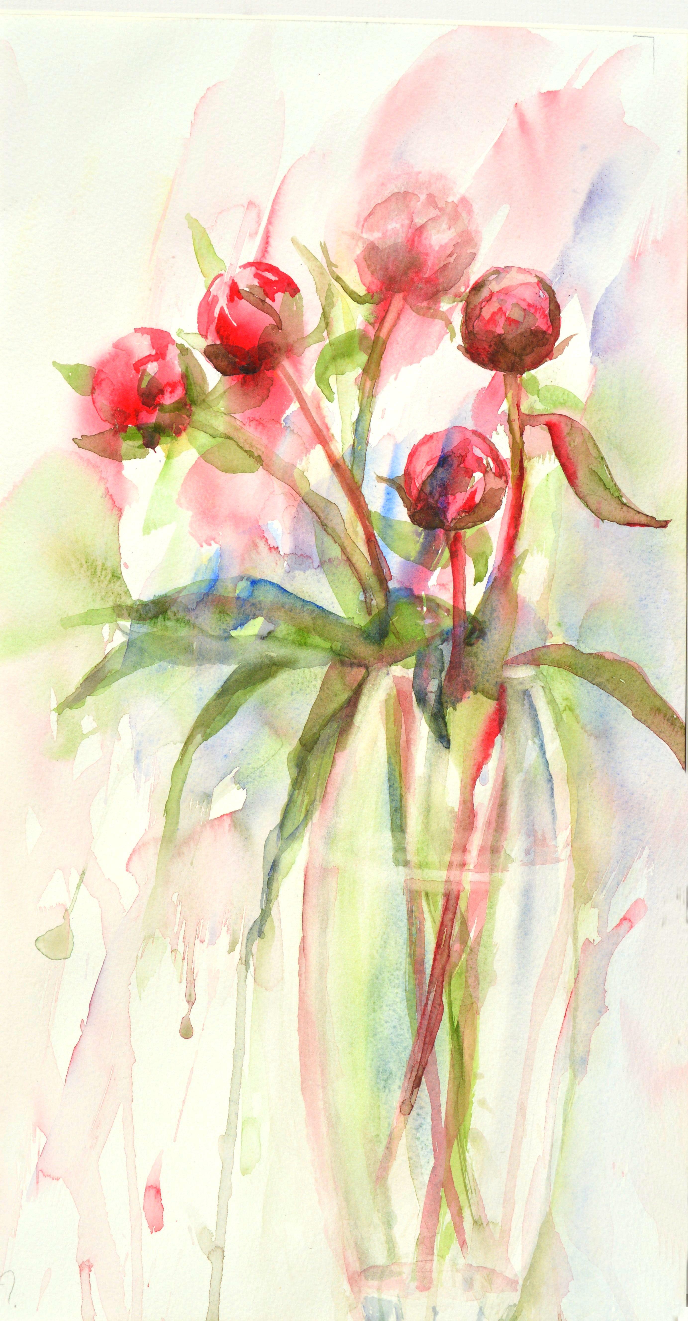 Peony Buds Watercolour (27cm x 51cm)