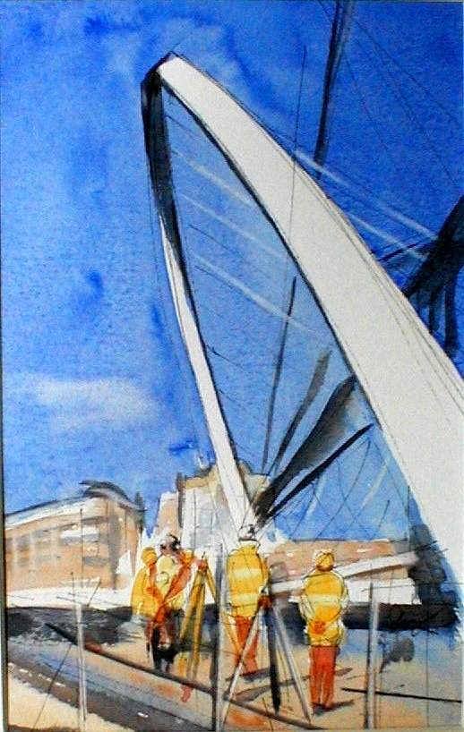 Close to Landing - Gateshead Millennium Bridge - 17cmx27cm